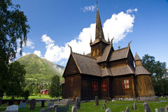 Stable church. In Norway with some clouds Royalty Free Stock Photo