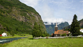 Stable church in Flam. In Norway Royalty Free Stock Image