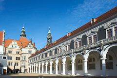The stable courtyard and the Langer Gang. The Langer Gang and courtyard of the Johanneum in Dresden Stock Photography