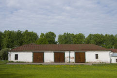 Stable in Russian homestead (18-th century) Royalty Free Stock Photo