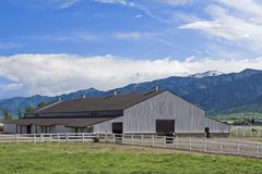 Stable for the shelter of the horses in Wyoming Royalty Free Stock Photos