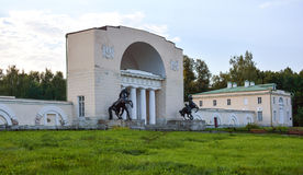 Stables. Old historic stables in city park, Moscow city, Russia Royalty Free Stock Photo