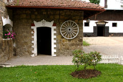 Stables stud farm in Napajedla. Courtyard in the stables of the famous stud farm established in 1886 in Napajedla, which behave mainly racehorses, English Royalty Free Stock Photo
