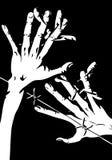 Stacheldraht, Hände und Greifer Stockfoto