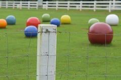 Stacheldrahtzaun im Gras Stockfoto