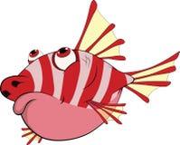 Stachelige korallenrote kleine Fische. Karikatur Lizenzfreie Stockbilder