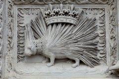 Stachelschwein emblemof das Haus von Orleans. Stockbilder