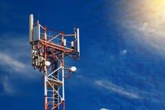 Stacja bazowa operator sieci 5G 4G, 3G wiszącej ozdoby technologie fotografia royalty free