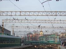 stacja kolejowa Druty, poręcze, pociągi fotografia royalty free
