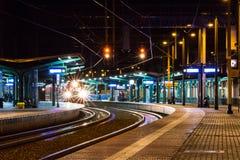 Stacja kolejowa i ślada fotografia stock