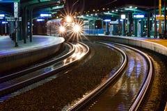 Stacja kolejowa i ślada obraz royalty free