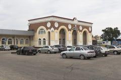 Stacja kolejowa kwadrat i stacja kolejowa w Evpatoria Zdjęcia Royalty Free