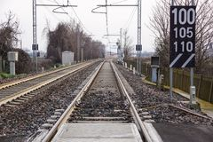stacja kolejowa Przemysłowy krajobraz z linią kolejową Kolej Przemysł ciężki Obrazy Royalty Free