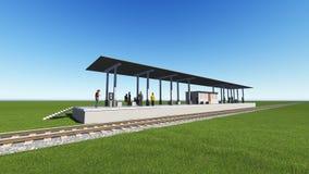 Stacja kolejowa w zielonym pola 3D renderingu Obrazy Stock