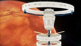 Stacja kosmiczna lata wokoło Mars Piękna szczegółowa animacja zbiory wideo