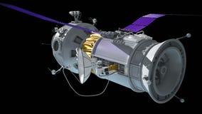 Stacja kosmiczna przy depresją Ziemska orbita Statek kosmiczny satelitarną antenę dla komunikaci i przeniesienia informaci royalty ilustracja