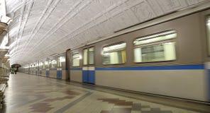Stacja metru Belorusskaya w Moskwa, Rosja (Koltsevaya linia) Ja otwierał w 30 01 1952 Obraz Stock