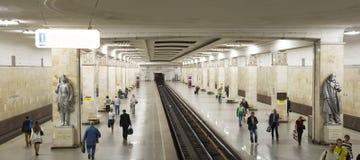 Stacja metru PartizanskayaIt napisze w rosjaninie w Moskwa, Rosja Ja otwierał w 18 01 1944 Obrazy Stock