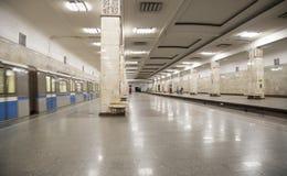 Stacja metru PartizanskayaIt napisze w rosjaninie w Moskwa, Rosja Ja otwierał w 18 01 1944 Fotografia Stock
