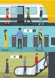 Stacja metru sztandaru pojęcia set, mieszkanie styl ilustracji