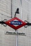 Stacja metru znak Plac De Espana, Madryt, Hiszpania Obrazy Stock