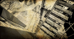 Stacja. Nowożytny przemysłowy wnętrze, schodki, czyści przestrzeń w ind Zdjęcie Stock