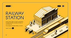 Stacji kolejowej lądowania isometric wektorowa strona royalty ilustracja
