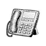 Stacjonarny telefon z guzikami Rocznik ręka rysująca ilustracja ilustracji
