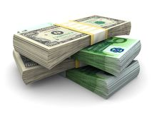 Stack of $100 and 100€ bills royalty free stock images
