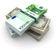 Stack of $100 and 100� bills Stock Photos