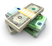 Stack of $100 and 100� bills Royalty Free Stock Images