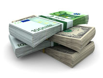 Stack of $100 and 100€ bills Royalty Free Stock Image