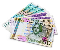 Stack of 100, 50 and 20 swedish krona banknotes Royalty Free Stock Photo