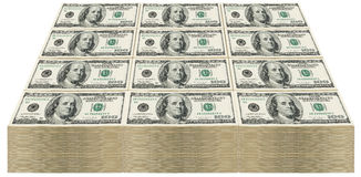 Stack of $100 bills. Huge stack of one hundred dollar bills. Isolated on white background Royalty Free Stock Photo
