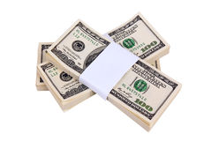 Stack of $100 bills. Isolated on white background Stock Photo