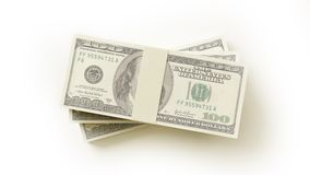 Stack of $100 bills. Isolated on white background Royalty Free Stock Photo