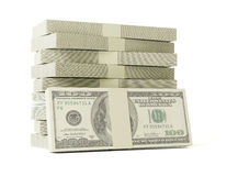 Stack of $100 bills. Isolated on white background Royalty Free Stock Image