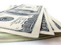 Stack of $ 100 bills. On white background Royalty Free Stock Photography