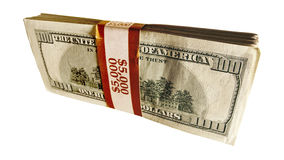 Stack of 100 dollar bills. Isolated Royalty Free Stock Photography