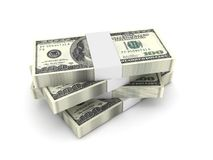 Stack of 100 dollar bills. Isolated on white background. High quality 3d render Stock Photos