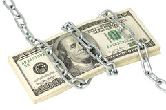 A stack of 100 dollars wrapped chain. A stack of 100 dollar  bills wrapped metal chain Stock Images