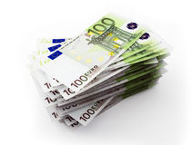 Stack of 100 Euro bills. 3d illustration on white background Stock Photo
