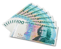 Stack of 100 Swedish krona banknotes Royalty Free Stock Photography