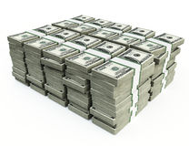 Stack of 100 $US bills. 3d image isolated on white Royalty Free Stock Photos