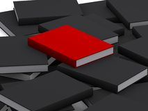 Stack of 3d books. 3d books, red one on top Royalty Free Stock Photos