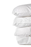 A stack of 4 white pillowcases Stock Photos