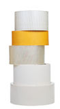 Stack of adhesive tape rolls isolated on white Stock Photography