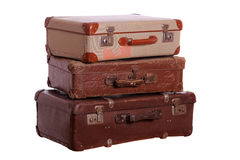 Stack of aged suitcases Stock Photos