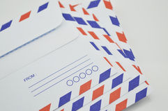 Stack of air mail envelopes Stock Photo