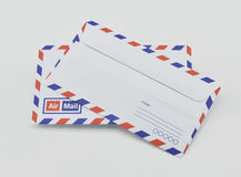 Stack of air mail envelopes Royalty Free Stock Photos